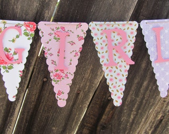 Baby Shower Banner, Baby Shower Decorations, Floral Baby Shower Banner, Garden Party Banner