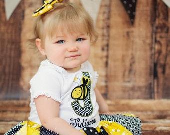 Fabric Tutu, Busy Little Bee, Shabby Chic Fabric Tutu, Photo Prop Tutu, Childrens Toddler Tutu, bumble bee Birthday, bee Halloween costume