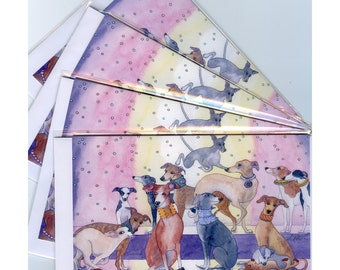 4 x greyhound whippet lurcher greeting cards - fashion parade