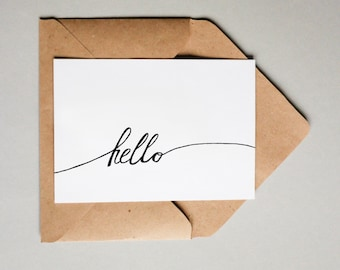 Hello Ribbon // Downloadable and Printable // Digital // Hand Lettered // Greeting Card // Just Because