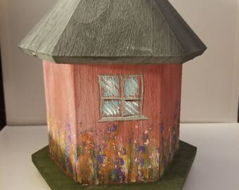 Barn wood, tin roof inspired Birdhouse