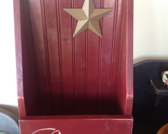 """Wall Cubby Burgandy Handmade with Primitive Stenciling. 20""""x 13"""" x6""""."""
