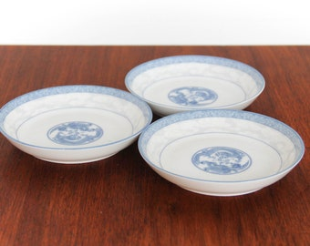 Set of 3 Porcelain + Blue Small Plates Shallow Bowls with Dragons