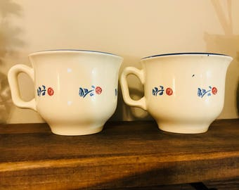 Vintage Pair Of Tea Cups By Pagnossin Stoneware - Made In Treviso Italy - Red White Blue