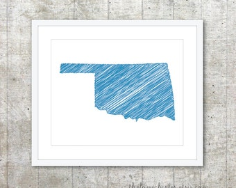 State of Oklahoma Print - Custom State Poster - Blue - Modern Minimalist Wall Art