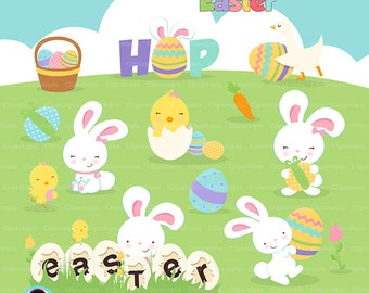 "Easter digital clipart  ""EASTER CLIPART""  Easter rabbit clip art , Easter bunny clipart, Easter Egg Clipart /instant download"