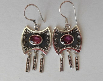 Unique Sterling Silver rubellite tourmaline gems dangle Earrings / 1.60 inch long / silver 925 /  handmade jewelry