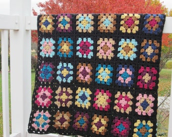 Traditional black granny square heirloom gift blanket ready to ship