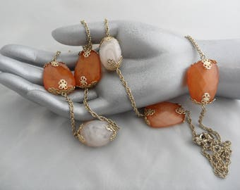 Long Station Necklace Very Long Necklace Roaring 20s Jewelry 40 Inch Necklace Flapper Necklace Avon Necklace Orange and White Swan Beads