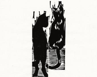 "Original Woodcut Cat Art Handmade Limited Edition Print ""02.02-Waiting"""