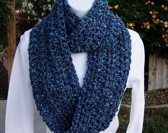 INFINITY SCARF Loop Cowl Dark & Medium Blue Multicolor Extra Soft, Thick Crochet Knit Winter Circle, Neck Warmer..Ready to Ship in 2 Days