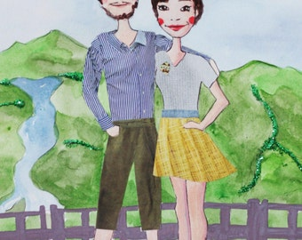 Mixed-media Custom Couple Portrait - Choose the City for Background - Gift for your Girlfriend