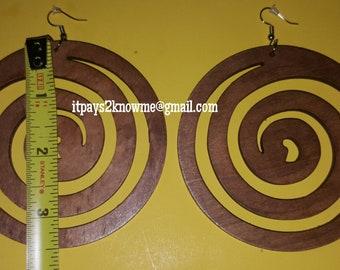 Big Swirl wooden earrings