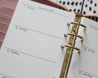 Printed Weekly Personal Planner Inserts Horizontal WO2 Pages - Sunday to Saturday