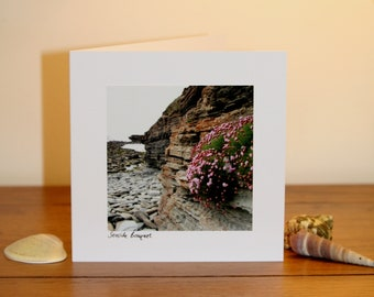 Handmade notelet 'Seaside Bouquet'. Scottish coastal images.