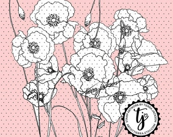 Field of Poppies - instant download digital stamps by Tierra Jackson