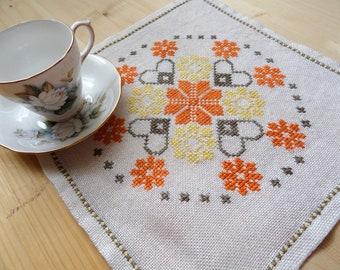 Linen serving napkin Swedish vintage floral embroidery Cross stitched square doily Floral embroidery table topper Folk  textile centerpiece