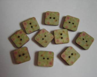 10 square 15 mm floral buttons
