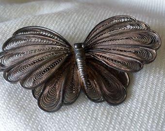Tantalizing Vintage Art Nouveau Cannetille 800 Silver Large  Butterfly Brooch