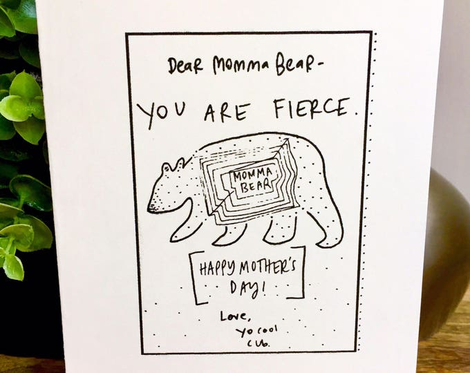 Mother's Day card Funny, Momma Bear card, Mother's Day Card Simple, Mothers day card funny, mothers day card bear and cub, handmade for mom