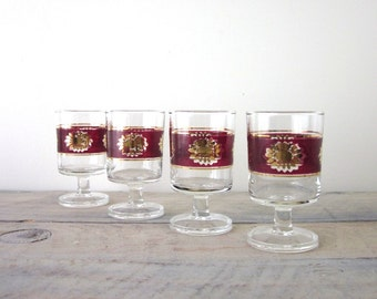 Mid Century Modern Cocktail Glasses with Burgandy and Gold Trim Set of Four