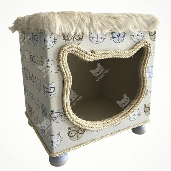 Cat Bed Pet House Cat Cottage Cat House Cat Cave Footstool play Furniture