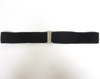 Black Belt Silver Clasp Buckle Stretch Elastic
