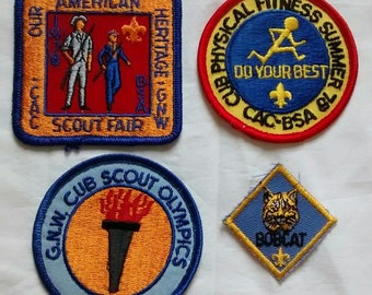 Vintage Boy Cub Scout Patches, American Heritage, Olympics, Fitness, BSA, 1970s, Indiana, CAC