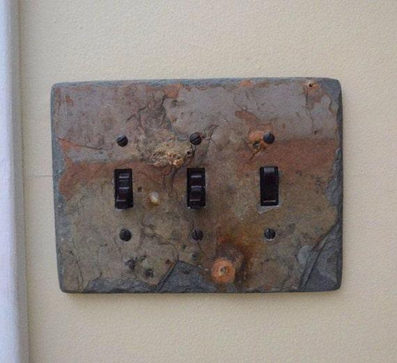 Decorative Slate Switch Plate 3 Triple Toggle Switchplate