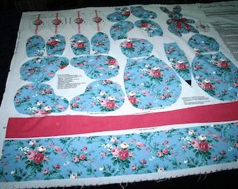 Rosebud Bunny & Egg Fabric ~  Beautiful Blue and Pink Print Panel a V.I.P. Screen Print,  Cranston Print Works
