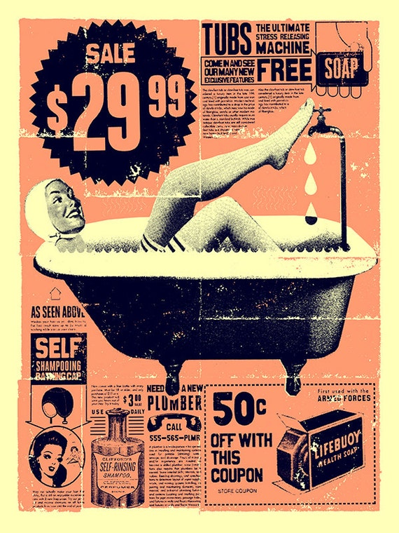 Vintage Bathroom Art Print 12 X 16