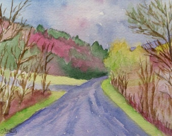 """Original Watercolor, """"Spring Colors"""", 5""""x7"""" Matted to 8""""x10"""""""