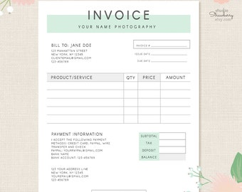 Invoice Template Etsy - Flower shop invoice template