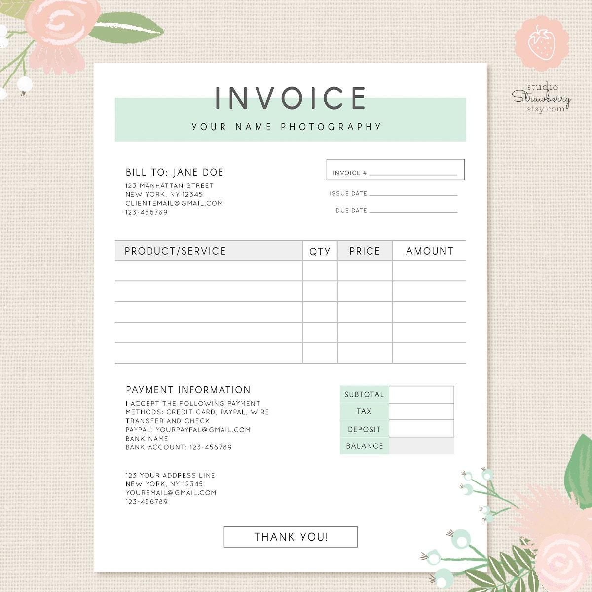 Invoice Template Photography Invoice Business Invoice - Photographer invoice template free jordan online store