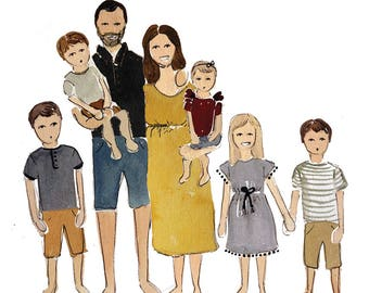 Family Portrait | Custom Portrait | Portrait | Watercolor | Wedding Gift |Hand Painted