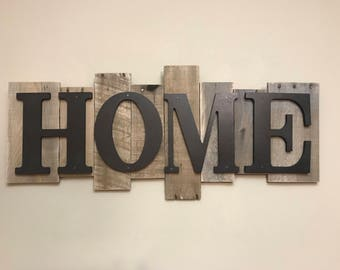 Rustic Wood Sign -HOME