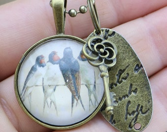 Four swallows on a wire glass cabochon charm  on a Bronze Necklace - Australian Seller