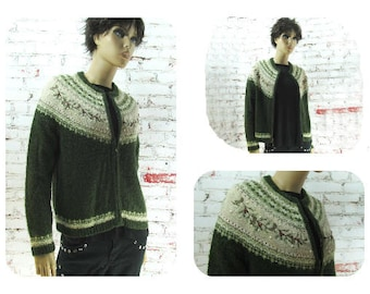 winter cardigan, silk wool sweater, green zip sweater, ski cardigan sweater, Holiday sweater,  size P M  -# 27