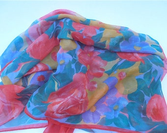 Vintage Multicolored Scarf Vintage Red Scarf Vintage Red Flower Scarf Vintage Red Floral Scarf Vtg Yellow Scarf Green Scarf Yellow Flower