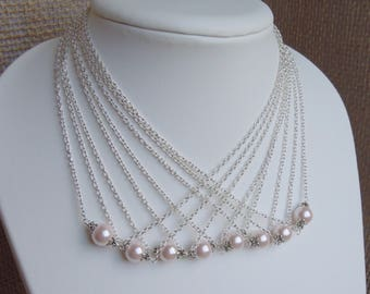 Blush Pink Pearl Necklace in Gold or Silver - Light Pale Pink Simple Pearl Pendant - Matching Earrings Available