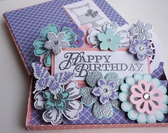Purple Birthday Gift Card Holder/ Card