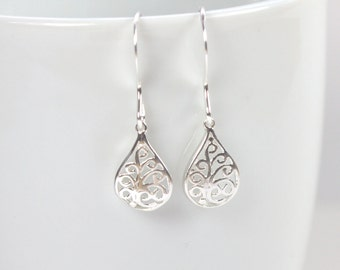 Tiny Sterling Silver Filigree Teardrop Earrings, Filigree Sterling Silver Earrings, Small Drop Earrings, Small Silver Earrings [#905]