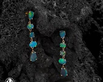 Opal Earrings, Opal Doublet Earrings, 14 Karat Yellow Gold Opal Earrings, October Birthstone, Earrings with Dangling Opals | EAR01881