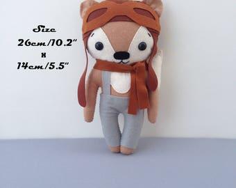 Pilot Toy Felt Fox Soft Cute Fox Plush Big Fox Personalized, Cute Fox Gift, Stuffed Fox Sewing