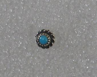 5mm Round Single Braided Wire Turquoise  Sterling  Post Earring