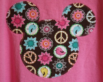 Women's or Girls' Custom Disney Inspired Appliqued Applique Mickey Ears T-shirt Birds Flowers Peace Signs Vacation Tee Pick Your Size