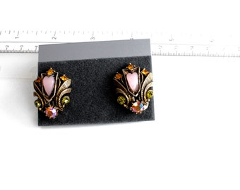 Vintage Florenza Victorian  Style  Earrings clip on with  Purple thermoset and  rhinestones  #1816