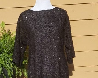 1970s Jo Hardin Black Sparkly Blouse Large//Burlesque Gypsy Hipster Bohemian Beach Summer Blouse//Designer 1980s Top I Gothic Black Top