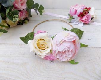 Flower crown peony flower girl crown hair accessories floral crown wedding headband hair wreath photo prop blush vintage pink flower crown