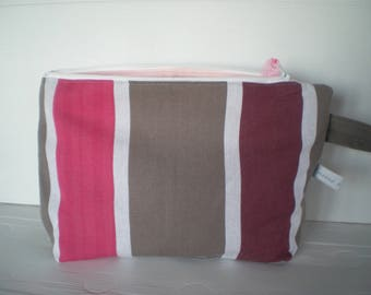 Pink and plum striped Toiletry Kit